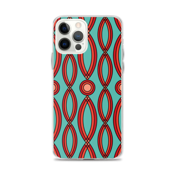 iphone 12 pro max case that has a red geometric shape pattern on a teal blue background