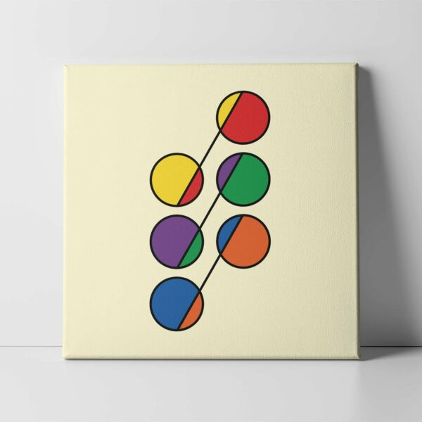 square stretched canvas print with six colorful circles in rainbow colors on a yellow background