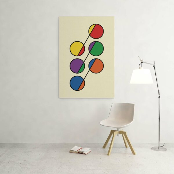 large vertical stretched canvas print with six colorful circles in rainbow colors on a yellow background hanging on a wall