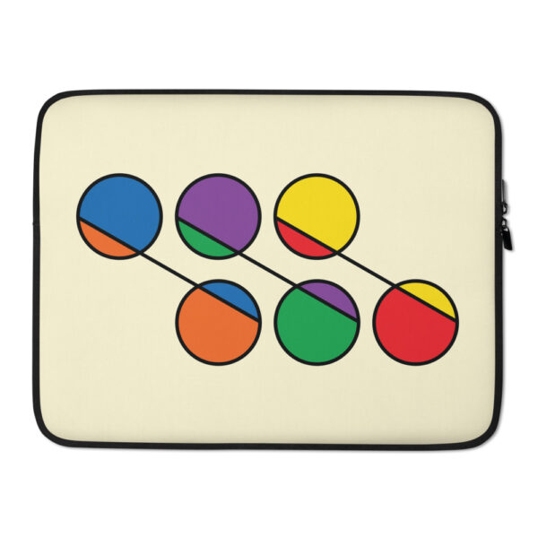 15 inch laptop sleeve with six circles in rainbow colors on a yellow background