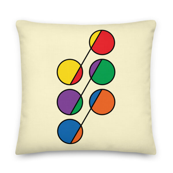 22 inch square pillow with a design of six circles in rainbow colors on a yellow background