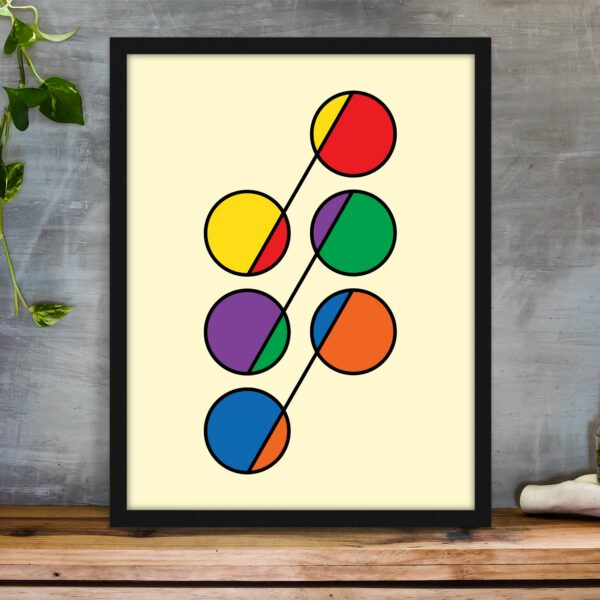 vertical fine art print with a colorful design of six circles in rainbow colors in a black frame on a table