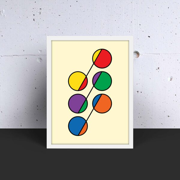 vertical fine art print with a colorful design of six circles in rainbow colors in a white frame