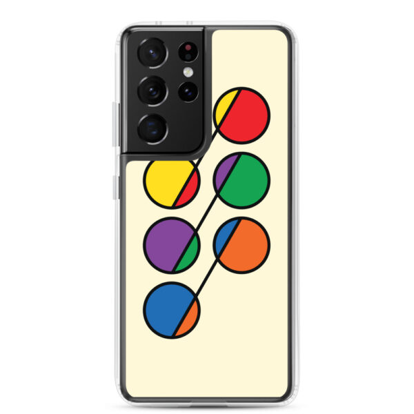 samsung galaxy s21 ultra phone case that has six colorful circles in rainbow colors on a yellow background