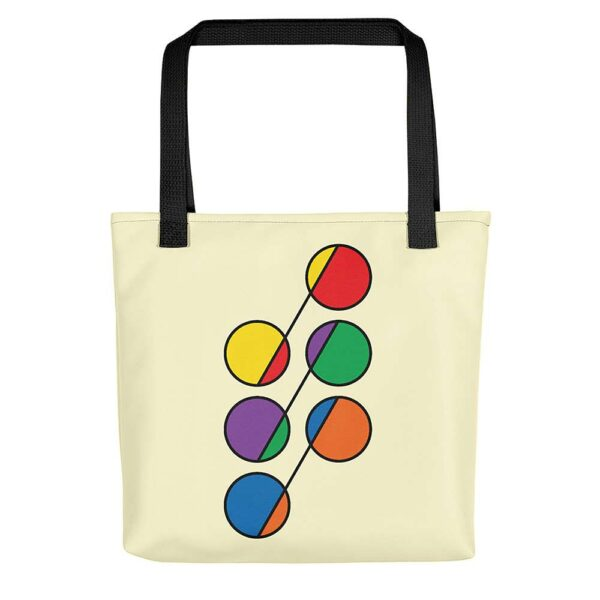 yellow tote bag with black handles and a design of six circles in rainbow colors