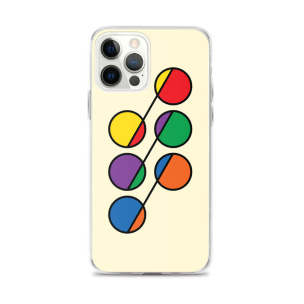 iphone 12 pro max case that has six colorful circles in rainbow colors on a yellow background