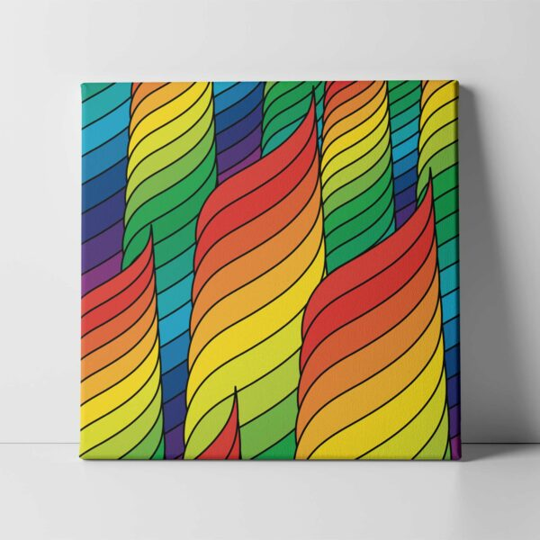 square stretched canvas print with an abstract rainbow design