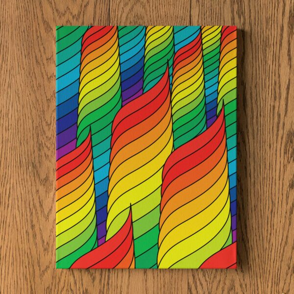 vertical stretched canvas print with an abstract rainbow design hanging on a wall