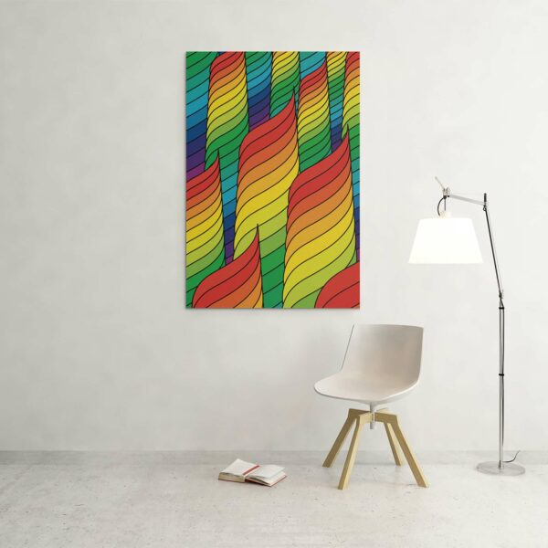 large vertical stretched canvas print with an abstract rainbow design hanging on a wall