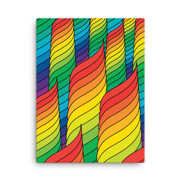 18 inch by 24 inch vertical stretched canvas print with an abstract rainbow design