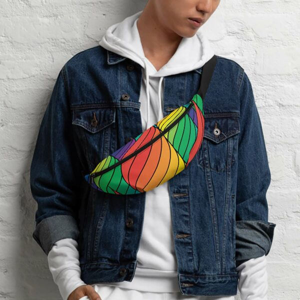 person wearing a fanny pack with an abstract rainbow design