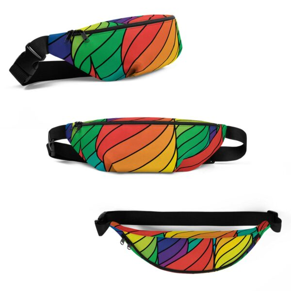 three side views of a fanny pack with an abstract rainbow design