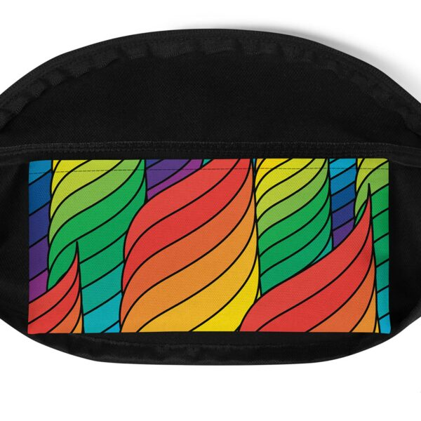 inside pocket of a fanny pack with an abstract rainbow design