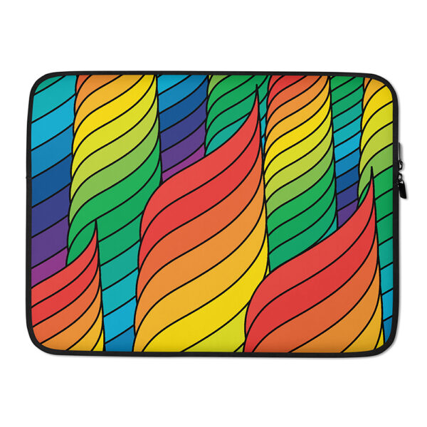 15 inch laptop sleeve with an abstract design of spirals in rainbow colors