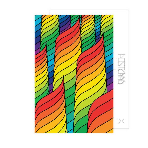 postcard with an abstract rainbow spiral design
