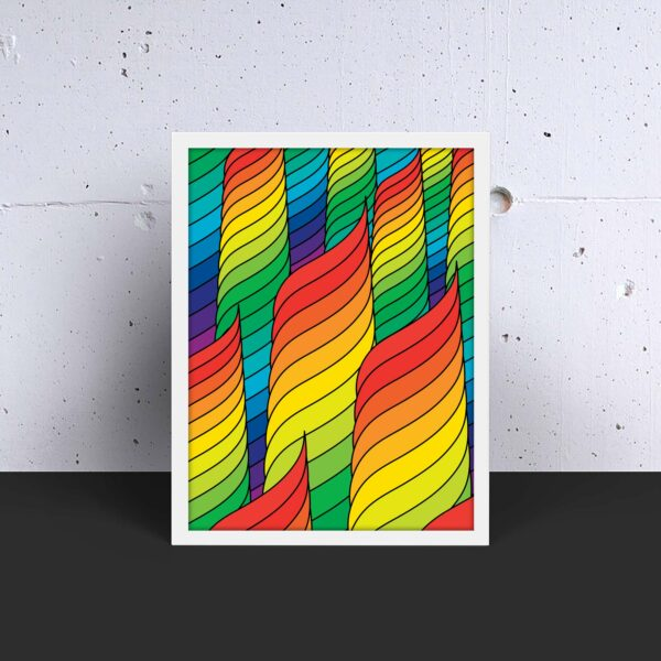 vertical fine art print with an abstract design of rainbow spirals in a white frame