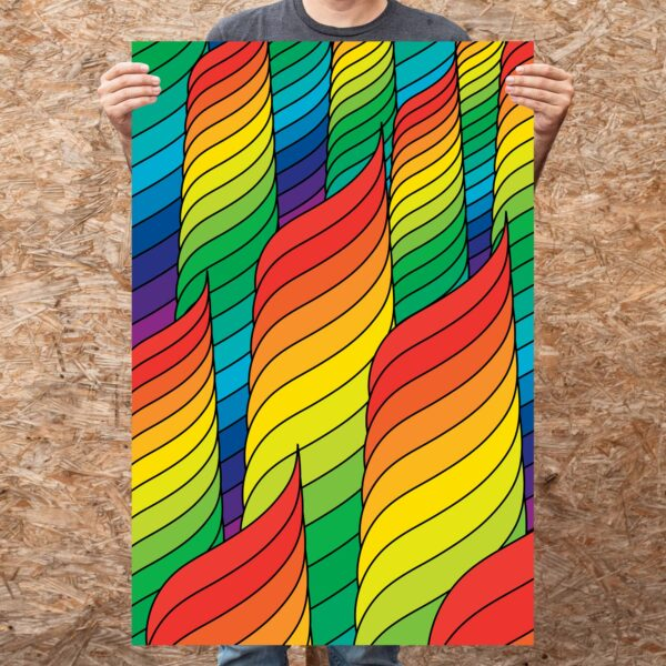 person holding a large vertical fine art print with an abstract design of rainbow spirals