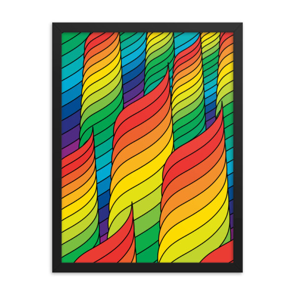 18 inch by 24 inch vertical fine art print with an abstract design of rainbow spirals in a black frame