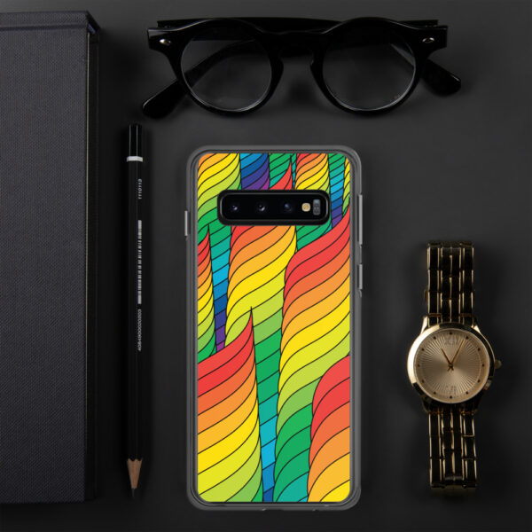 samsung phone case with an abstract design of rainbow spirals sitting next to a watch