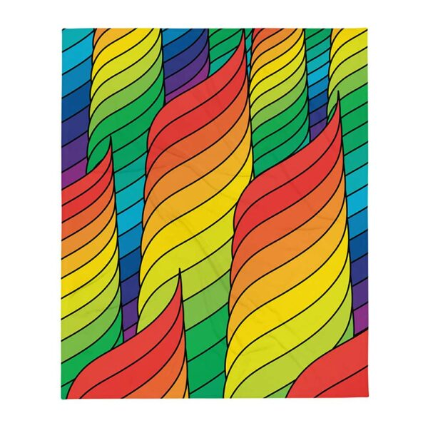 blanket with an abstract design of spirals in rainbow colors
