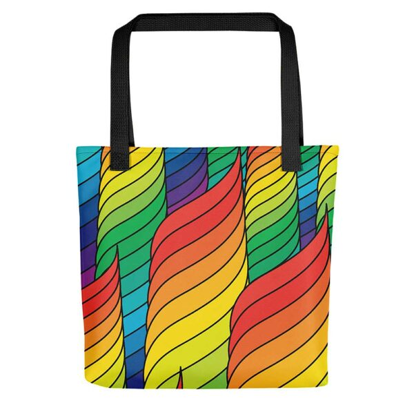 tote bag with black handles and an abstract rainbow spiral design