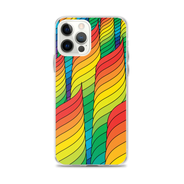 iphone 12 pro max case with an abstract design of rainbow spirals