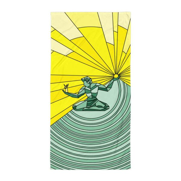 beach towel with a yellow and green spirit of detroit design