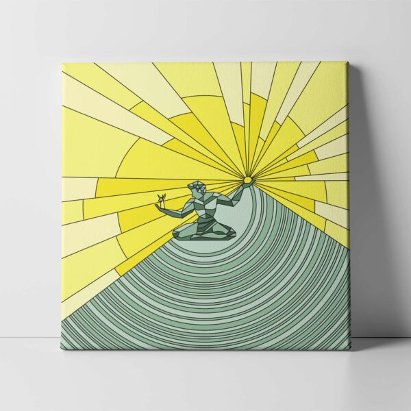 square stretched canvas print with a yellow and green illustration of the spirit of detroit