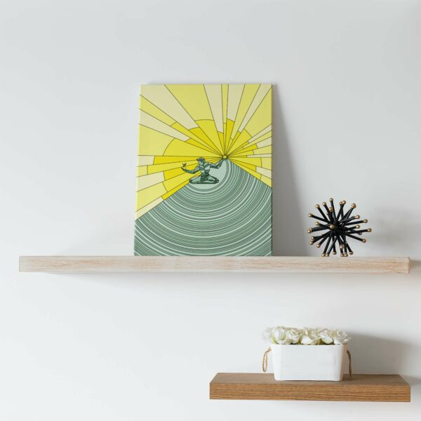 vertical stretched canvas print with a yellow and green illustration of the spirit of detroit on a shelf