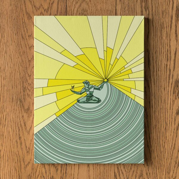 vertical stretched canvas print with a yellow and green illustration of the spirit of detroit hanging on a wall