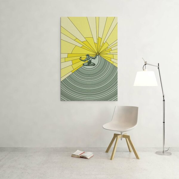 large vertical stretched canvas print with a yellow and green illustration of the spirit of detroit hanging on a wall
