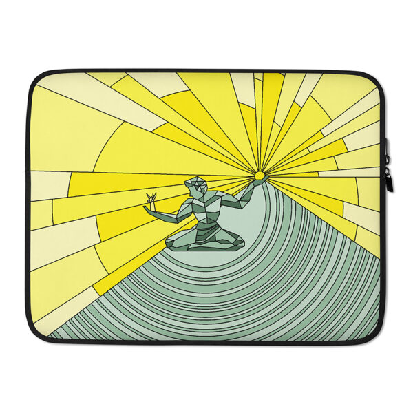 15 inch laptop sleeve with a yellow and green illustration of the spirit of detroit