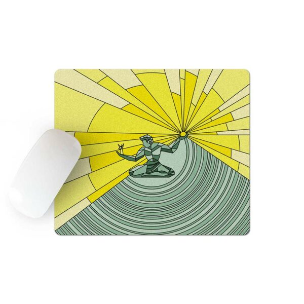 mouse pad with a yellow and green illustration of the spirit of detroit