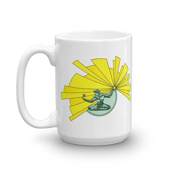 15 ounce white ceramic coffee mug with a yellow and green illustration of the spirit of detroit on the side showing the same design on the other side