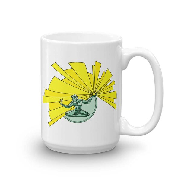 15 ounce white ceramic coffee mug with a yellow and green illustration of the spirit of detroit on the side