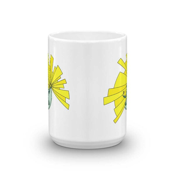 side view of a white ceramic coffee mug with a yellow and green illustration of the spirit of detroit on the side