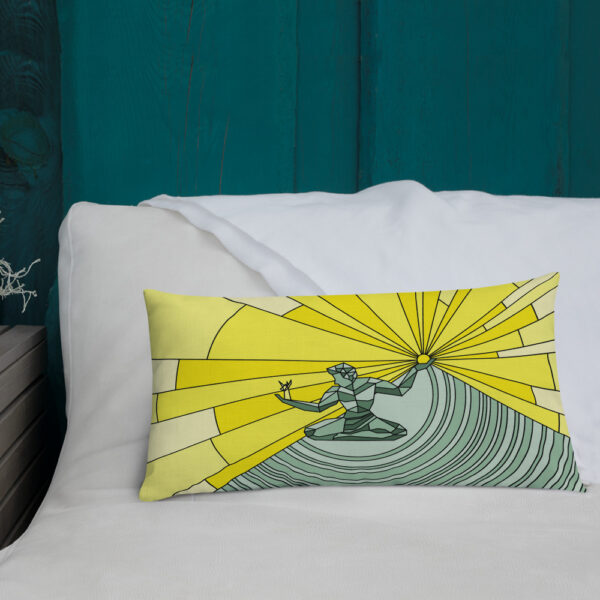 rectangle pillow with a yellow and green illustration of the spirit of detroit sitting on a bed