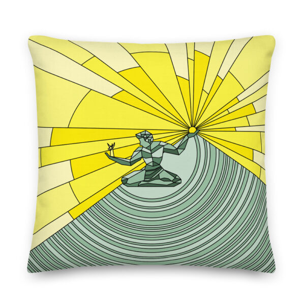 22 inch square pillow with a yellow and green illustration of the spirit of detroit