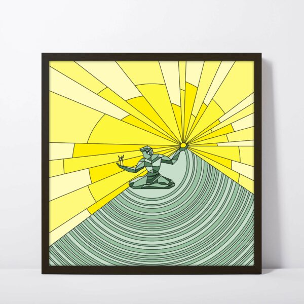 square fine art print with a yellow and green spirit of detroit design in a black frame