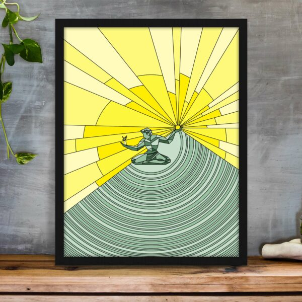 vertical fine art print with a yellow and green spirit of detroit design in a black frame on a table