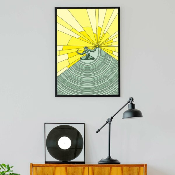 vertical fine art print with a yellow and green spirit of detroit design in a black frame hanging on a wall