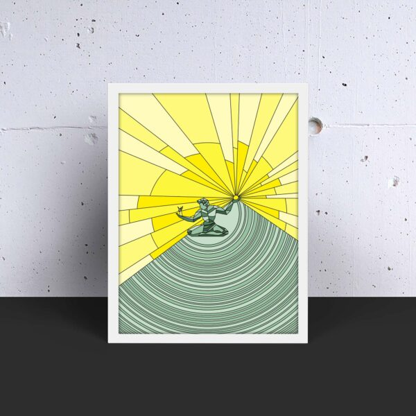 vertical fine art print with a yellow and green spirit of detroit design in a white frame