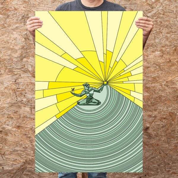 person holding a large fine art print with a yellow and green spirit of detroit design