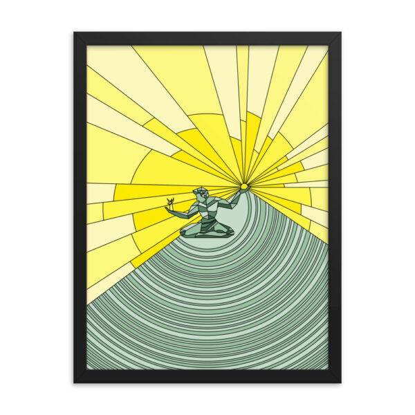 18 inch by 24 inch vertical fine art print with a yellow and green spirit of detroit design in a black frame
