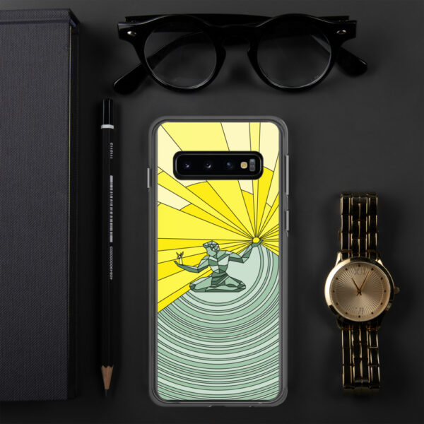 samsung phone case with a yellow and green illustration of the spirit of detroit design sitting next to a watch