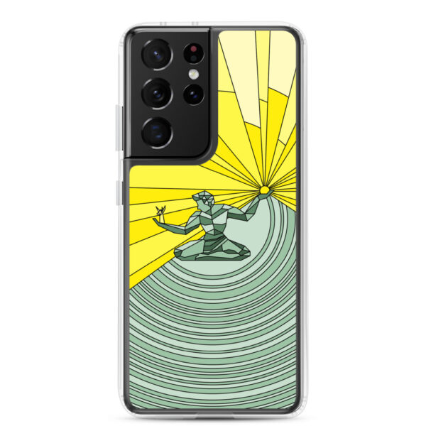 samsung galaxy s21 ultra phone case with a yellow and green illustration of the spirit of detroit design