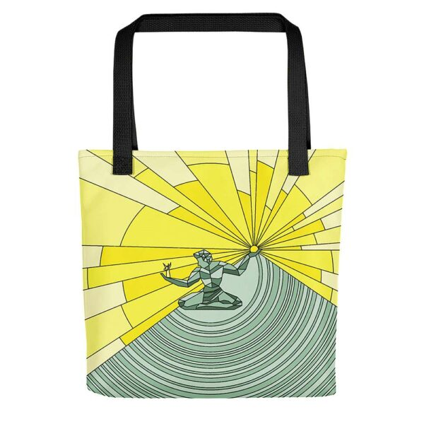 tote bag with black handles and a yellow and green spirit of detroit design