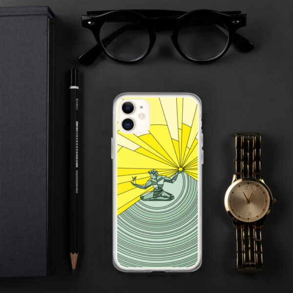 iphone case with a yellow and green illustration of the spirit of detroit design sitting next to a watch