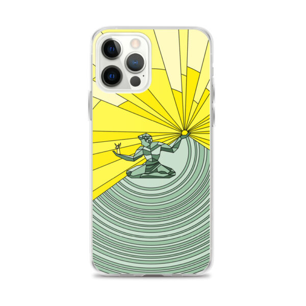 iphone 12 pro max case with a yellow and green illustration of the spirit of detroit design