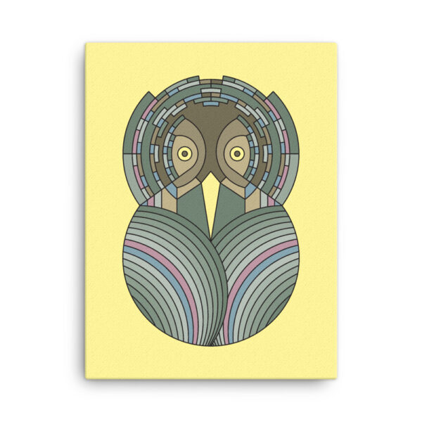 18 inch by 24 inch vertical stretched canvas art print of a colorful green and brown owl design on a yellow background